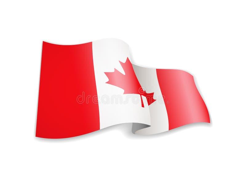 Bandeira de ondulação de Canadá no fundo branco ilustração royalty free