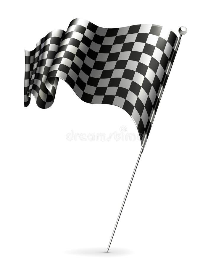 Bandeira de ondulação checkered ilustração do vetor