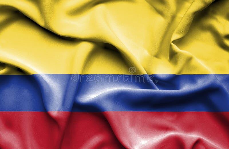 Bandeira de ondulação de Colômbia ilustração do vetor
