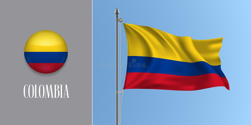 Bandeira de ondulação de Colômbia no mastro de bandeira e na ilustração redonda do vetor do ícone ilustração stock