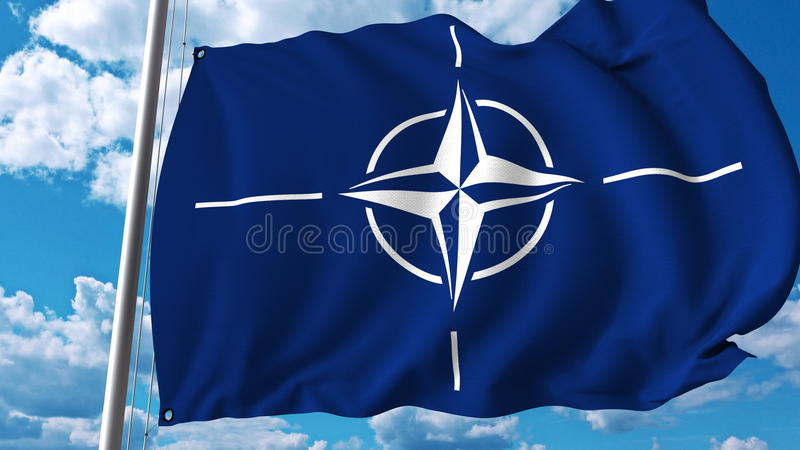 Bandeira de ondulação com logotipo da OTAN Rendição 3D editorial ilustração do vetor