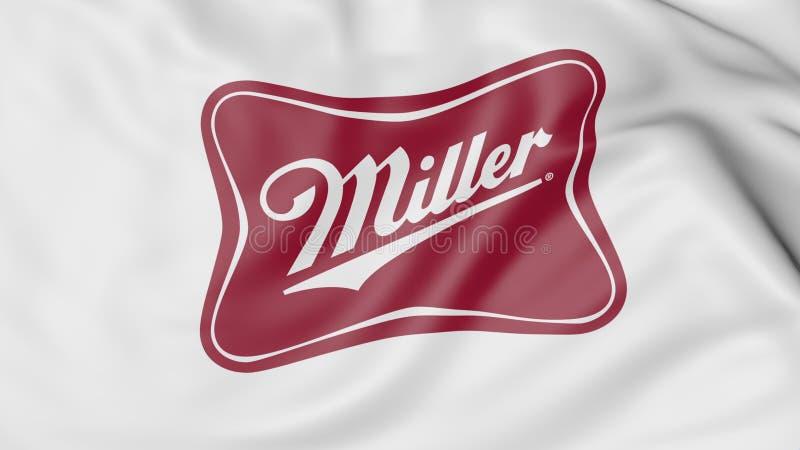 Bandeira de ondulação com logotipo de Miller Brewing Company Rendição 3D editorial ilustração stock