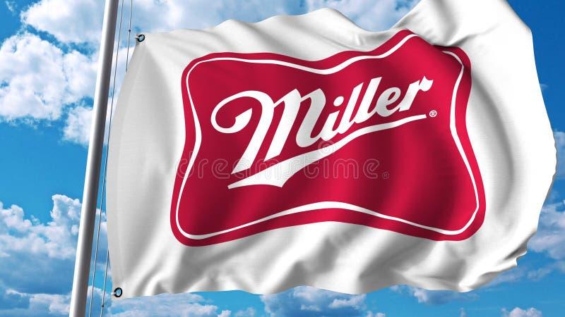 Bandeira de ondulação com logotipo de Miller Brewing Company Rendição de Editoial 3D ilustração do vetor