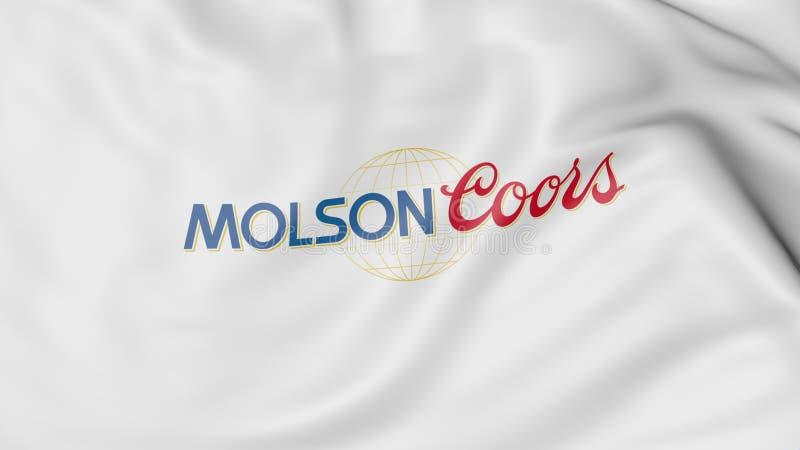Bandeira de ondulação com logotipo de Molson Coors Brewing Empresa Rendição 3D editorial ilustração royalty free