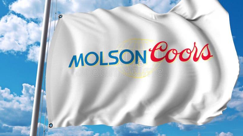 Bandeira de ondulação com logotipo de Molson Coors Brewing Empresa Rendição de Editoial 3D ilustração do vetor