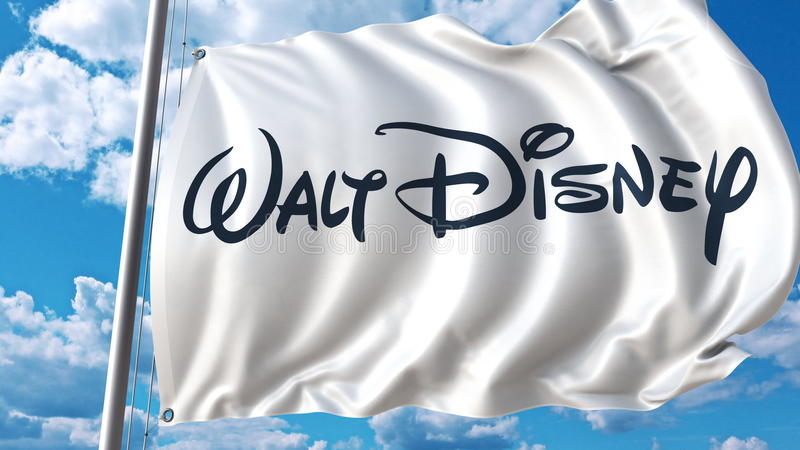Bandeira de ondulação com logotipo de Walt Disney contra o céu e as nuvens Rendição 3D editorial ilustração do vetor