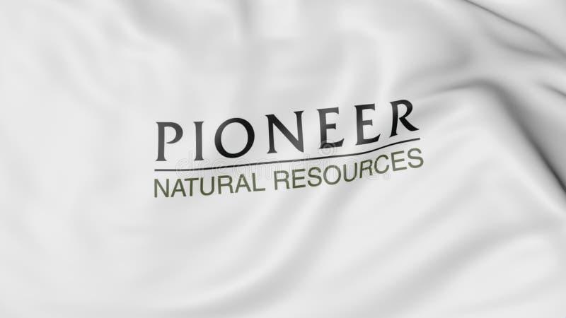 Bandeira de ondulação com logotipo pioneiro dos recursos naturais Rendição 3D editorial ilustração do vetor