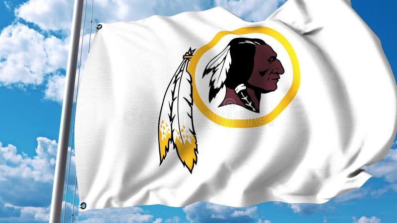 Bandeira de ondulação com logotipo profissional da equipe de Washington Redskins Rendição 3D editorial ilustração do vetor