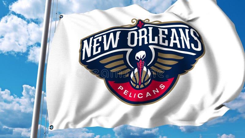 Bandeira de ondulação com logotipo profissional da equipe dos pelicanos de Nova Orleães Rendição 3D editorial ilustração royalty free