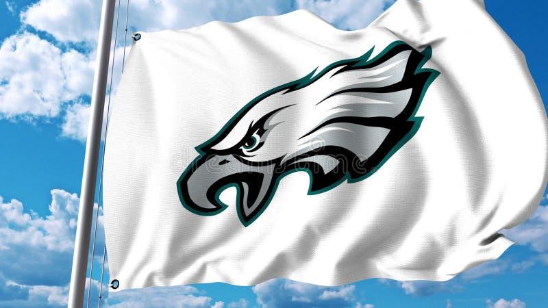 Bandeira de ondulação com logotipo profissional da equipe dos Philadelphia Eagles Rendição 3D editorial ilustração royalty free