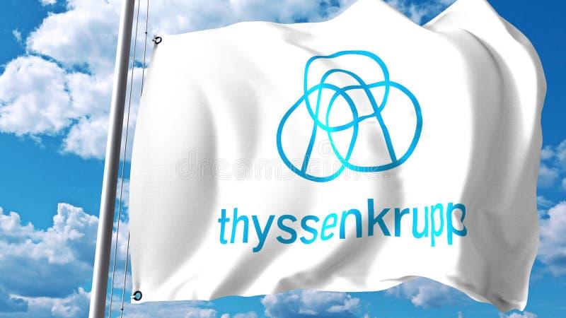 Bandeira de ondulação com logotipo de ThyssenKrupp contra nuvens e céu Rendição 3D editorial ilustração do vetor