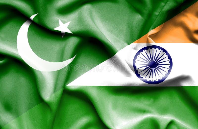 Bandeira de ondulação da Índia e do Paquistão ilustração royalty free