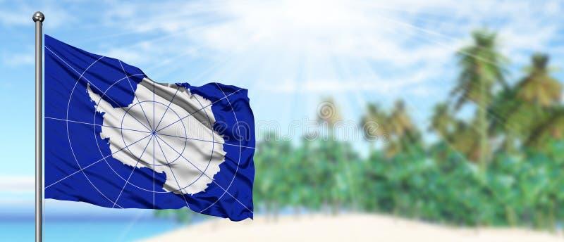 Bandeira de ondulação da Antártica no céu azul ensolarado com fundo da praia do verão Tema das f?rias, conceito do feriado foto de stock royalty free