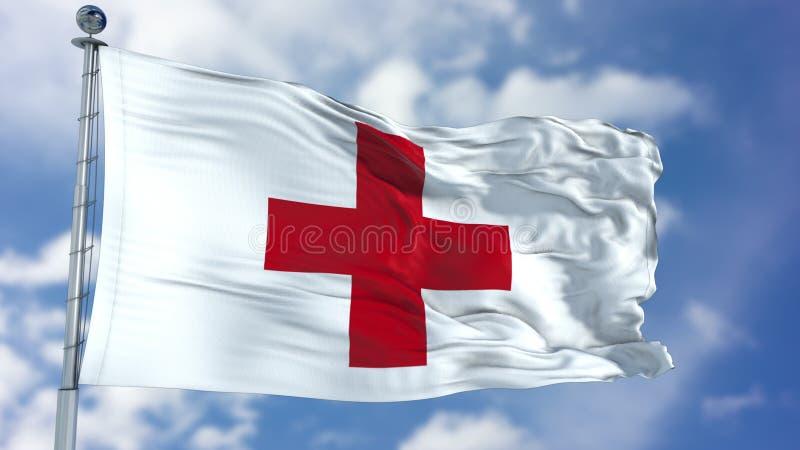 Bandeira de ondulação da cruz vermelha ilustração royalty free