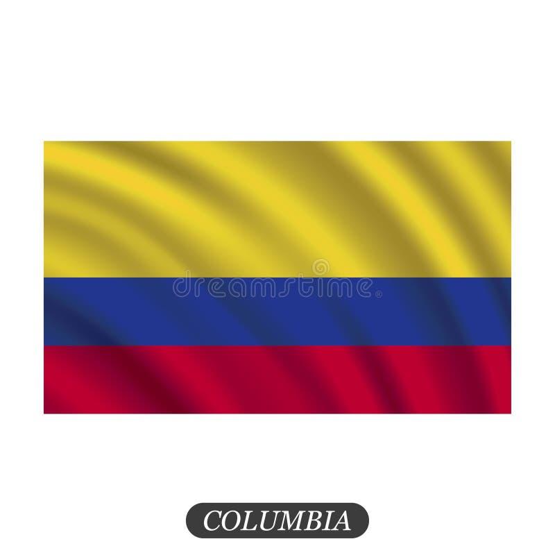 Bandeira de ondulação de Colômbia em um fundo branco Ilustração do vetor ilustração stock