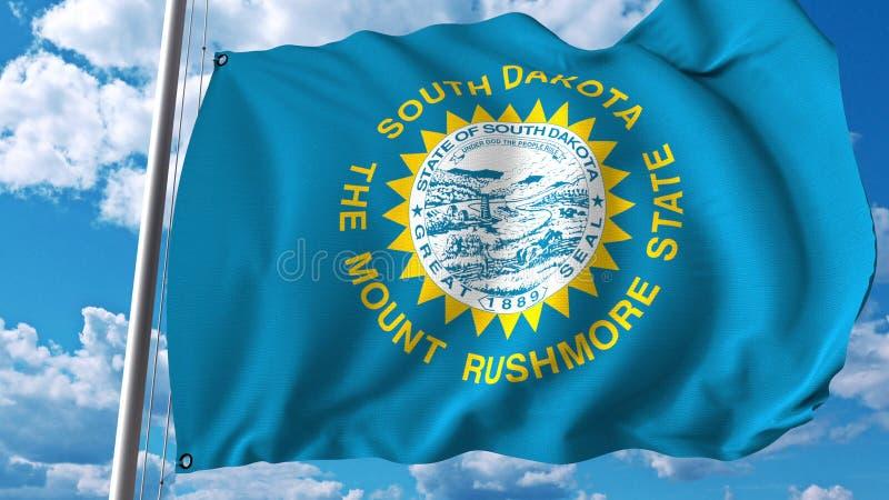 Bandeira de ondulação de South Dakota rendição 3d fotos de stock royalty free