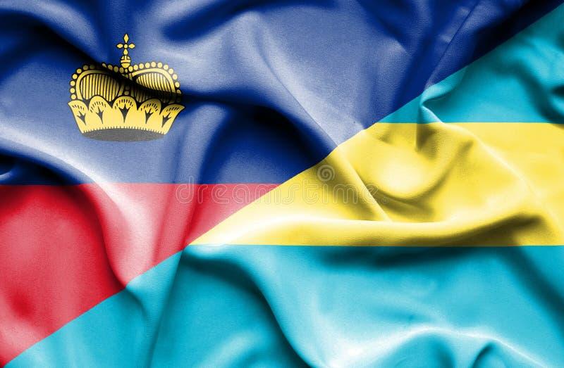 Bandeira de ondulação do Bahamas e do Lichtenstein ilustração do vetor
