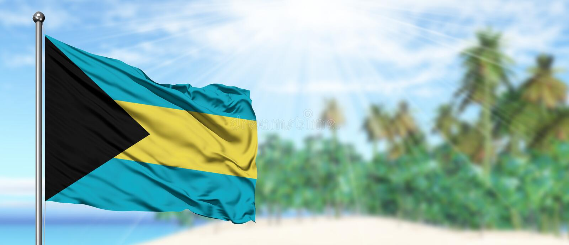 Bandeira de ondulação do Bahamas no céu azul ensolarado com fundo da praia do verão Tema das f?rias, conceito do feriado imagem de stock