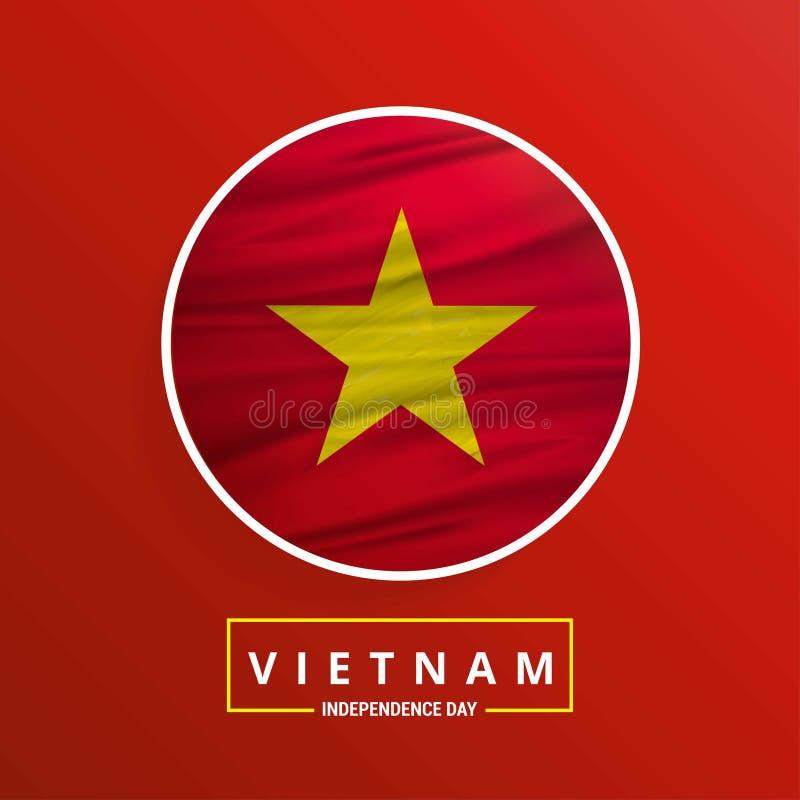 Bandeira de ondulação do Dia da Independência de Vietname no fundo abstrato vermelho ilustração do vetor