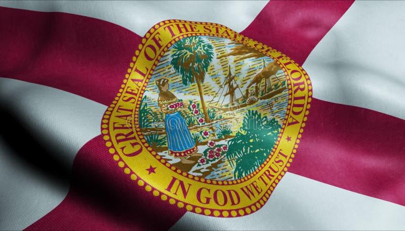 Bandeira de ondulação do estado da Flórida em 3D ilustração do vetor