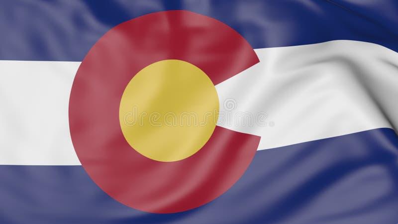 Bandeira de ondulação do estado de Colorado rendição 3d imagens de stock royalty free