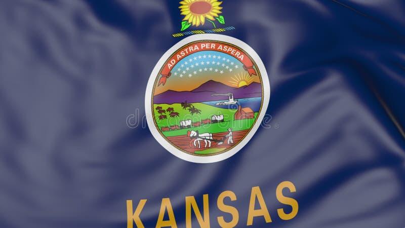Bandeira de ondulação do estado de Kansas rendição 3d imagem de stock royalty free