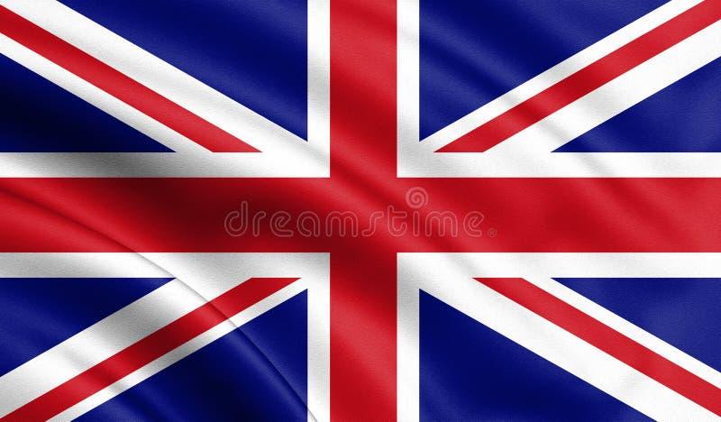 Bandeira de ondulação do estado de Reino Unido Ilustração da bandeira de país europeu no mastro de bandeira com cores vermelhas e ilustração royalty free