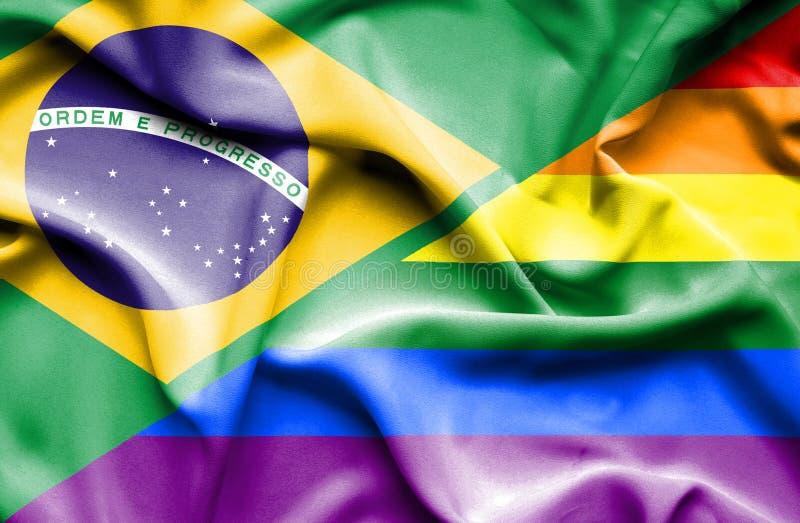 Bandeira de ondulação do orgulho e do Brasil ilustração royalty free