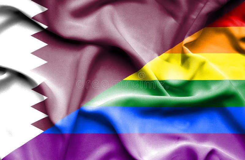 Bandeira de ondulação do orgulho e do Catar ilustração royalty free