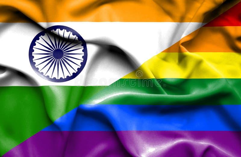 Bandeira de ondulação do orgulho e da Índia ilustração stock