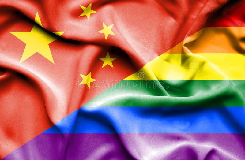 Bandeira de ondulação do orgulho e da China ilustração stock