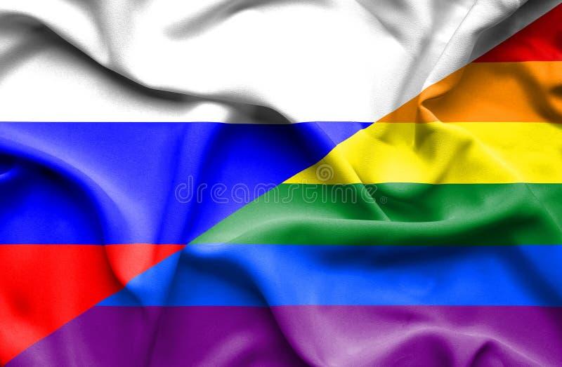 Bandeira de ondulação do orgulho e da Rússia ilustração royalty free