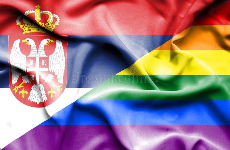 Bandeira de ondulação do orgulho e da Sérvia ilustração stock