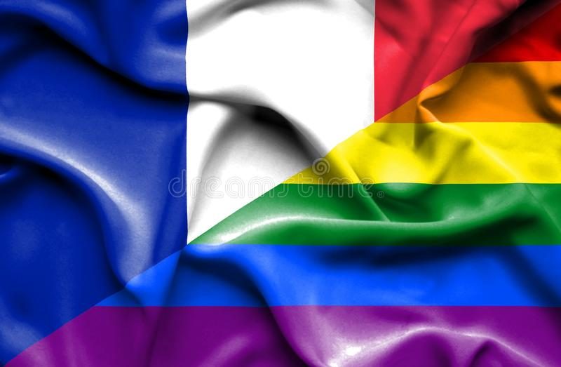 Bandeira de ondulação do orgulho e do França ilustração stock