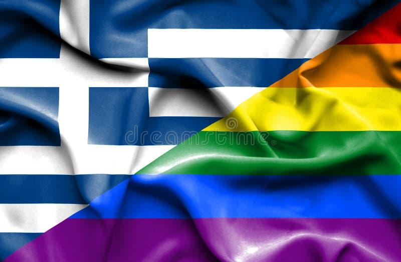 Bandeira de ondulação do orgulho e do Grécia ilustração stock