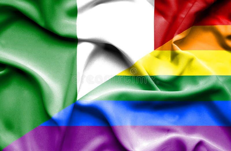 Bandeira de ondulação do orgulho e do Itália ilustração stock