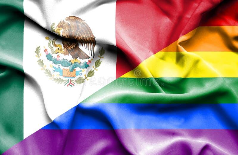 Bandeira de ondulação do orgulho e do México ilustração royalty free