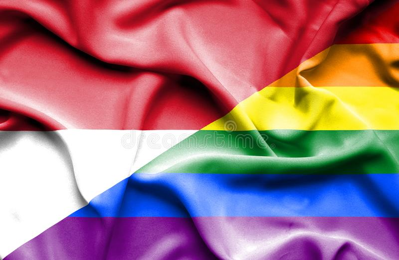 Bandeira de ondulação do orgulho e do Mônaco ilustração royalty free