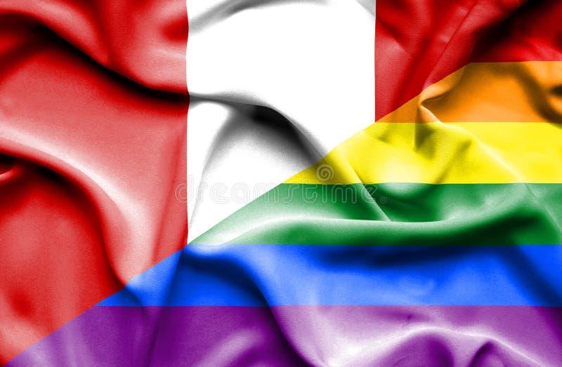Bandeira de ondulação do orgulho e do Peru ilustração royalty free