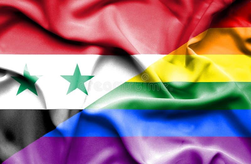 Bandeira de ondulação do orgulho e do Síria ilustração do vetor