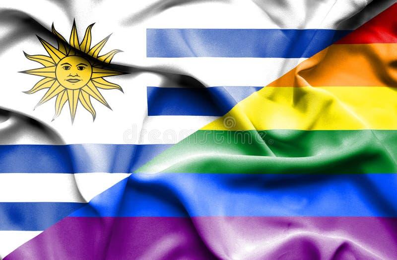Bandeira de ondulação do orgulho e do Uruguai ilustração stock