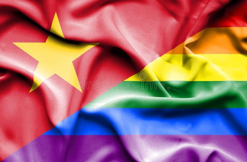Bandeira de ondulação do orgulho e do Vietname ilustração royalty free
