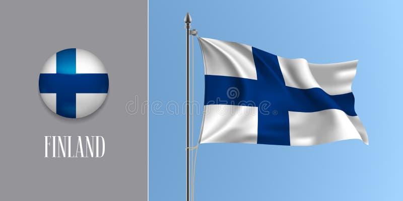 Bandeira de ondulação de Finlandia no mastro de bandeira e na ilustração redonda do vetor do ícone ilustração stock
