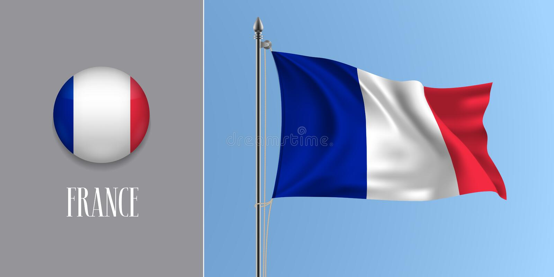 Bandeira de ondulação de França no mastro de bandeira e na ilustração redonda do vetor do ícone ilustração do vetor