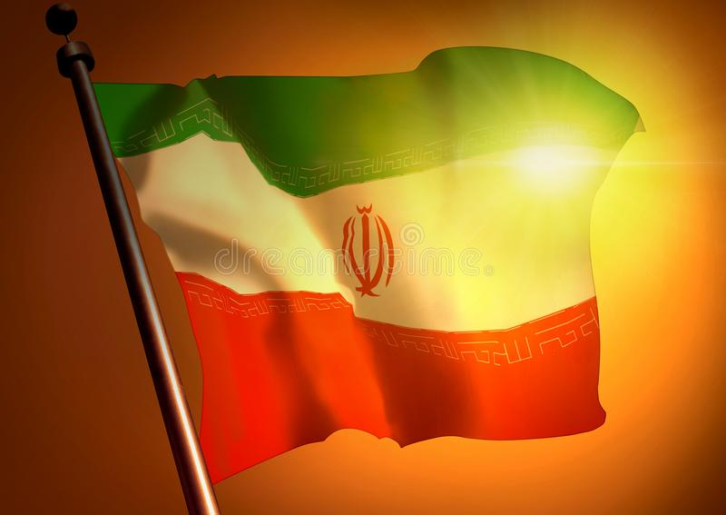 Bandeira de ondulação de Irã contra o por do sol imagem de stock