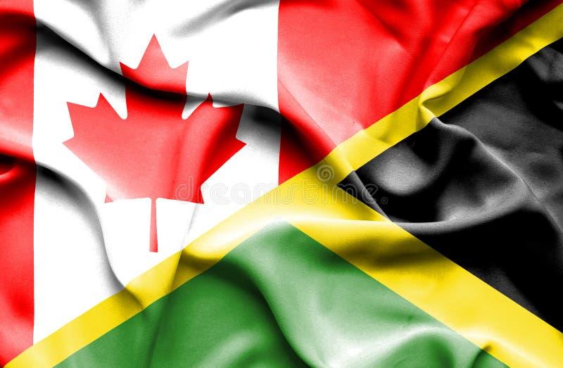 Bandeira de ondulação de Jamaica e de Canadá ilustração stock