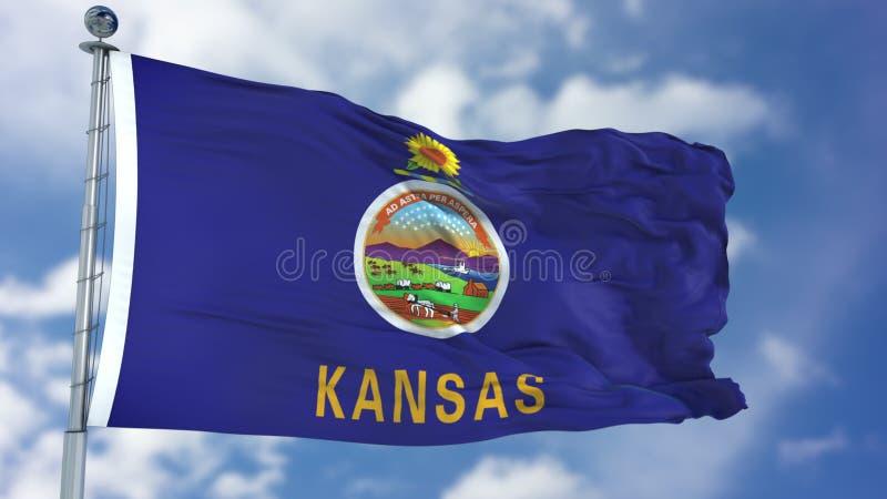 Bandeira de ondulação de Kansas imagem de stock
