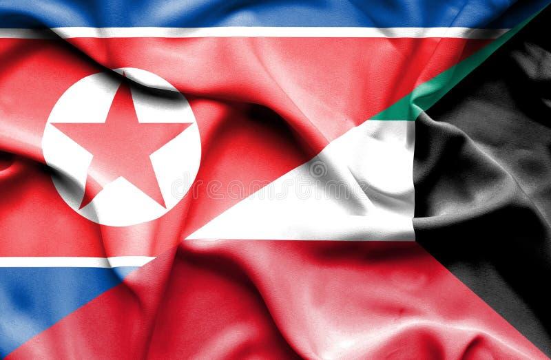 Bandeira de ondulação de Kuwait e da Coreia do Norte ilustração royalty free