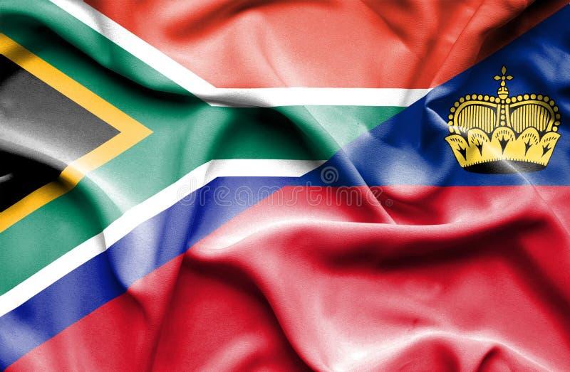Bandeira de ondulação de Lichtenstein e de África do Sul ilustração do vetor