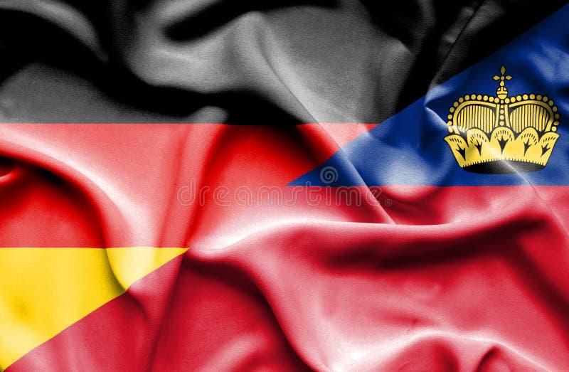 Bandeira de ondulação de Lichtenstein e de Alemanha ilustração stock